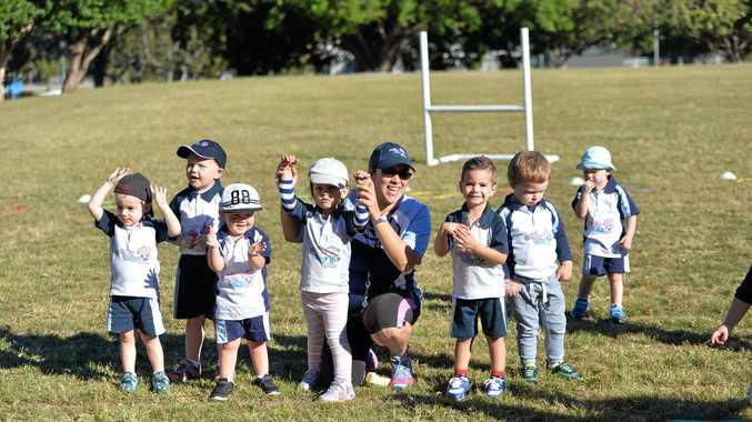 Krystle Berrigan with her Rugbytots kids.