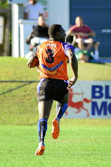 RAY OF LIGHT: Goodna's star centre Raymond Baira continued his try-scoring ways against Swifts. He landed a stunning 40m field goal for good measure.