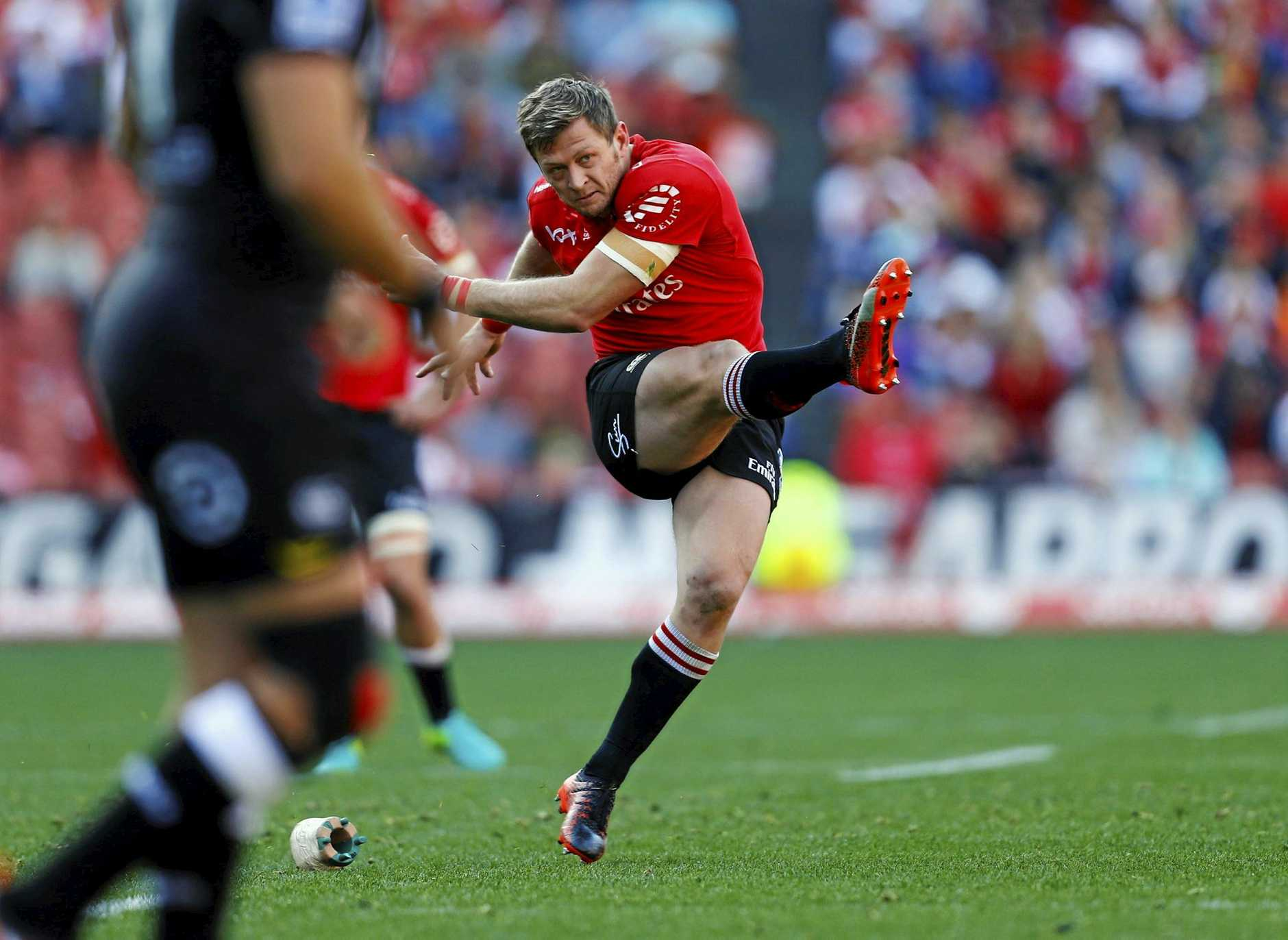 Lions' Ruan Combrinck kicks the winning penalty in the Super Rugby quarter-final match against the Sharks.