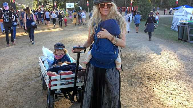 MUM AND KIDS: Kazzie Mahina, with kids Makoa, 4, and six-month-old Kona, at Splendour.