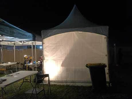 A tent in the police area at Splendour in the Grass, where festival-goers are asked to remove any illicit substances which they have concealed inside their body.