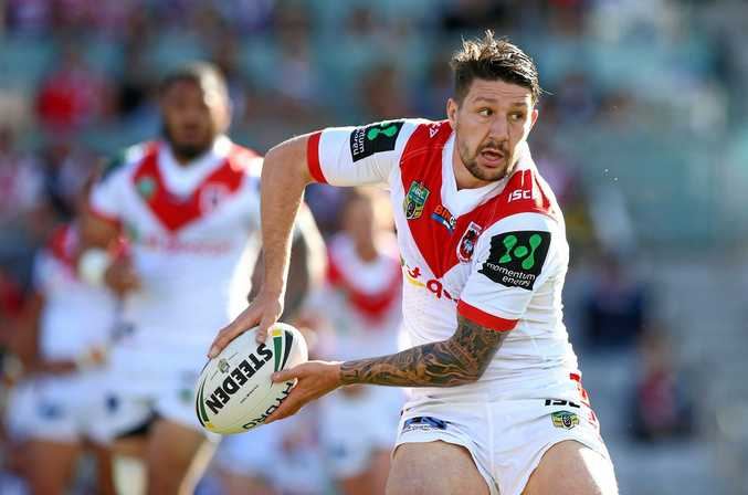 Playmaker Gareth Widdop looks for support during the Dragons' Round 20 win over the Sea Eagles in Wollongong.