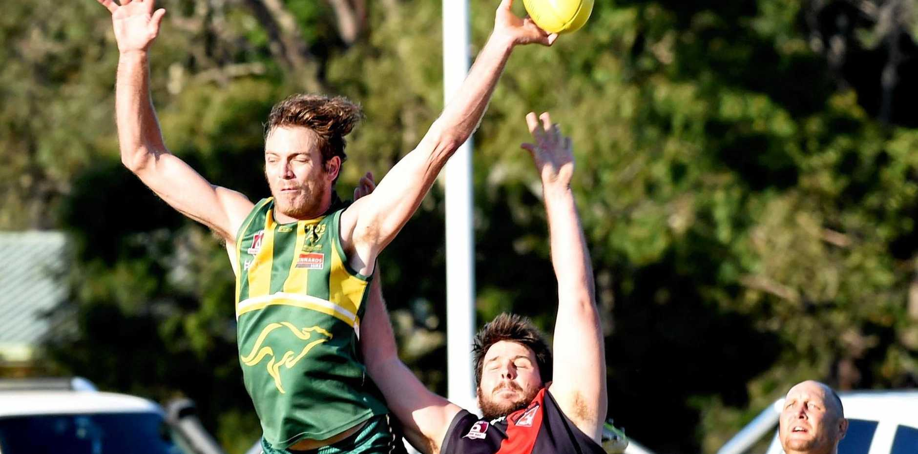 CONTEST: Maroochydore reached higher in its win over ervey Bay Bombers.