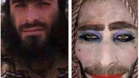 The jihadist (left) and his failed disguise (right).