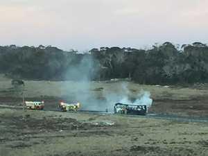 WATCH: Skiers escape NSW bus blaze