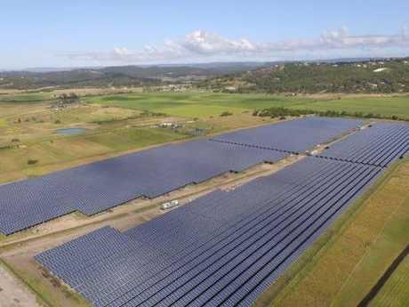 An aerial shot shows the scale of the new Sunshine Coast Solar Farm.