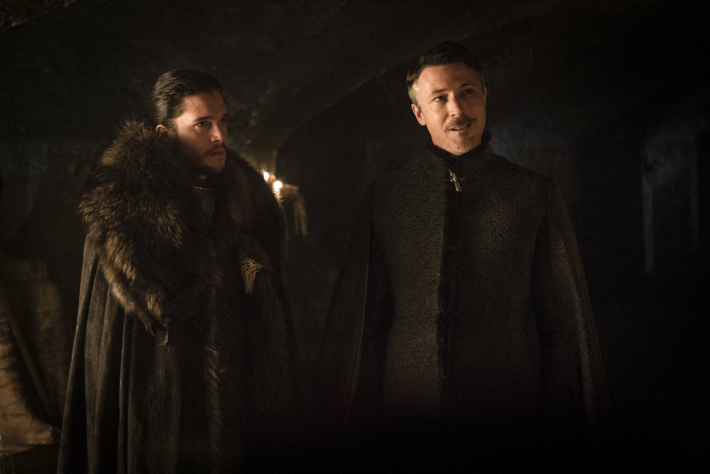 Kit Harington and Aidan Gillen in a scene from season seven episode two of Game of Thrones.