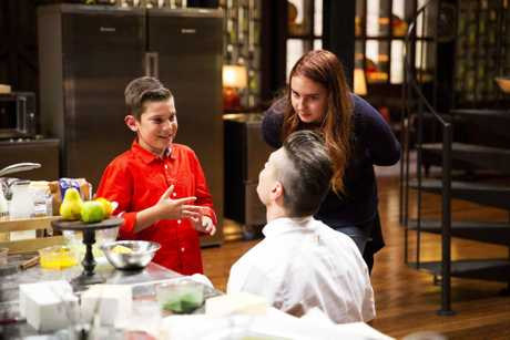 Ben Ungermann with son Phoenix and daughter Ella during the MasterChef grand final.