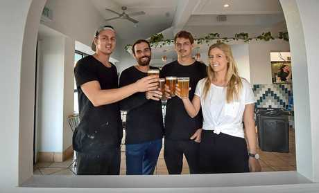 Sam Pregnell, Cody Gwillim, Jake Pregnell and Alicia Pregnell toast to the success of their new Mexican Restaurant in Alexandra Headland.