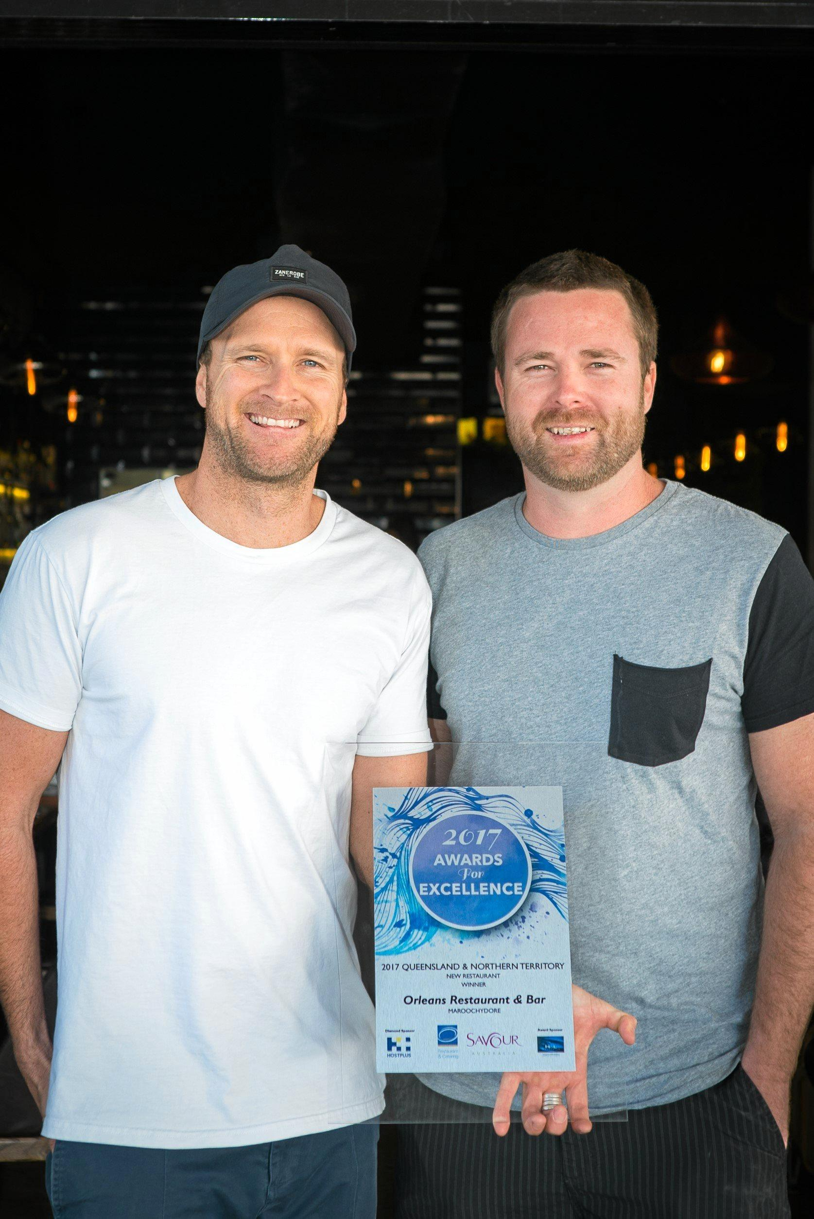 WINNERS: Orleans Restaurant and Bar owners Brendan Bryant and Liam Brown and the team are beaming after winning best new restaurant in Queensland and Northern Territory.