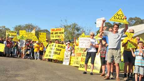 TRAVESTY: Mary River protesters gathered at Kandanga to vent their spleens at the apparent green light the government has given to the Traveston dam project in September, 2009. Kevin DeVere played an important role in the eventual rejection of the dam by the Federal Government.