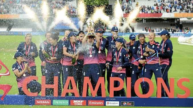 WINNERS ARE GRINNERS: England players celebrate winning the women's World Cup 2017 final against India at Lord's.