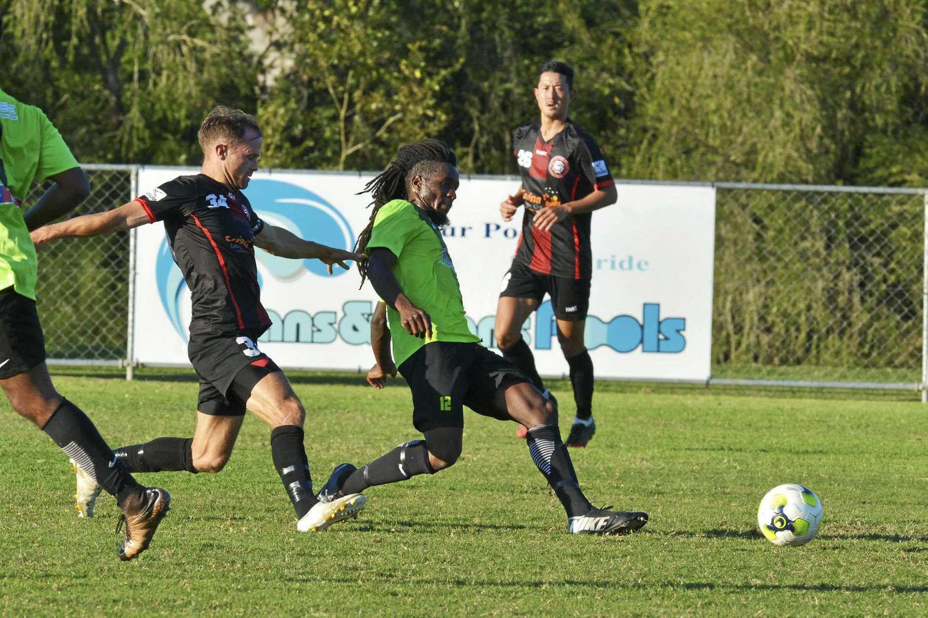 Ipswich Knights goal scorer Emmanuel Peter makes a break during a recent BPL game against Holland Park.