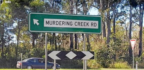 The prominent Murdering Creek Road sign.