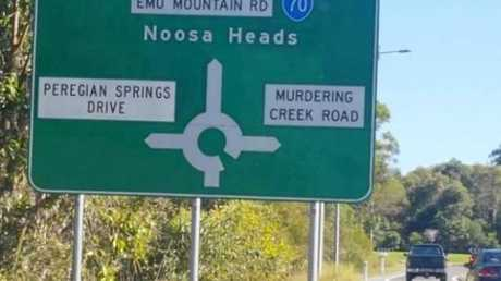 The turn off to Murdering Creek Road is clearly marked on the Sunshine Motorway.