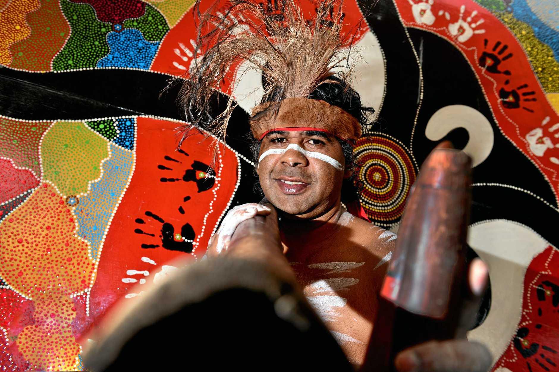 NAIDOC week was officially heralded in Nambour. Lyndon Davis of the Gubbi Gubbi people.  Photo: John McCutcheon / Sunshine Coast Daily