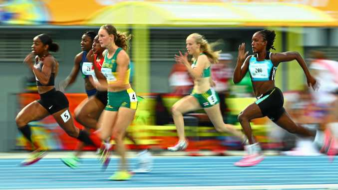 GOLDEN GIRL: Riley Day (pictured during the 100m semi-final) helped lead Australia to gold in the Mixed 4x100m Relay at the 2017 Youth Commonwealth Games.