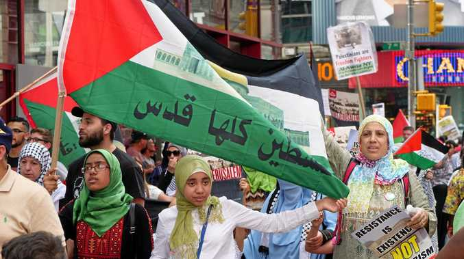 Israel's restrictions on the Al-Aqsa Compound get Palestinians protesting at Times Square in New York.