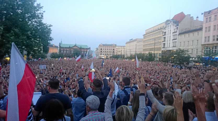Protesters in the city of Poznan rally against the new bill changing the judiciary system in Poland.
