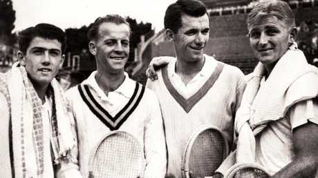 The 1953 Australian Davis Cup team; (from left) Ken Rosewall, Rex Hartwig, Mervyn Rose and Lew Hoad.