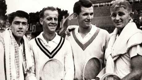 The 1953 Australian Davis Cup team; (from left) Ken Rosewall, Rex Hartwig, Mervyn Rose and Lew Hoad.
