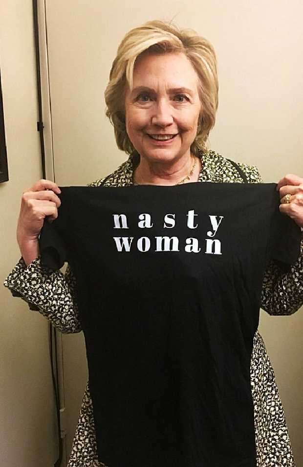 Hillary Clinton holding up a Nasty Woman T-shirt. Picture: Hillary Clinton, Twitter