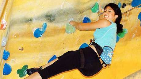 Andrea Hah says she rock-climbs three times a week.