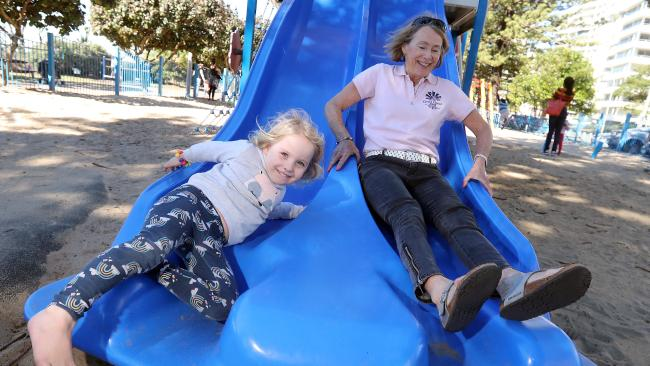Emma Cordner loves spending time on the playground with her grandma Karen Williams. Photo by Richard Gosling