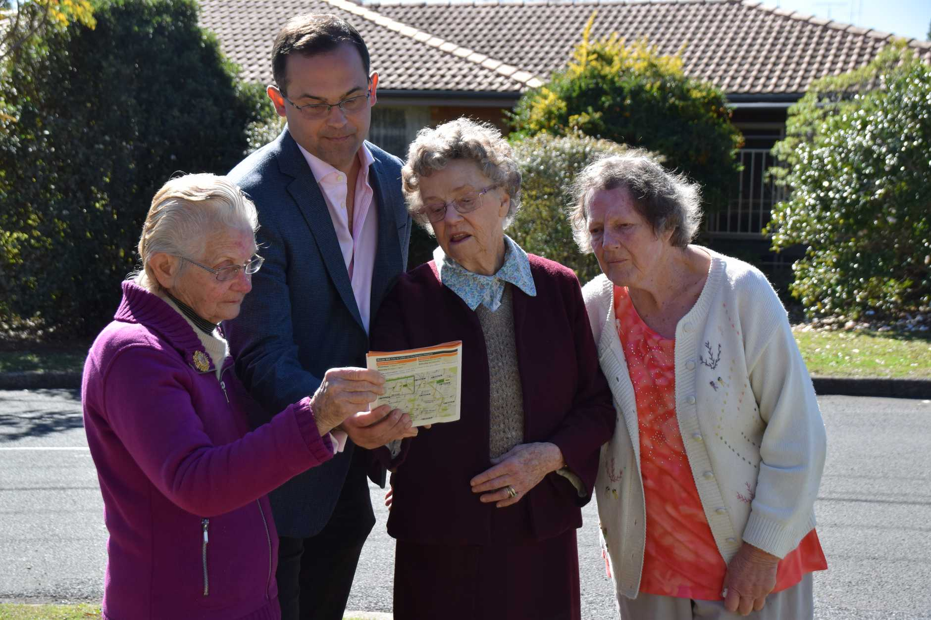 Member for Toowoomba South David Janetzki speaks with pensioners (from left) Gwen Stagg, Rita Hallahan and Nancy Fermor who have lost their independence due to the removal of their Alderley Street bus stop.