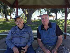 SHARING TIPS: Norm Finney was helping Bryn Morgans