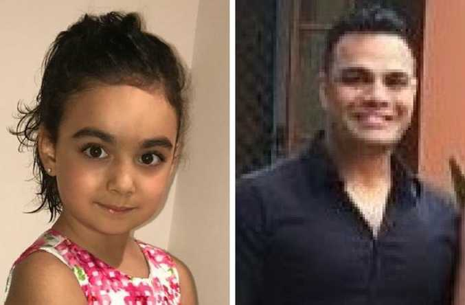 An amber alert has been issued after this little girl went missing from a childcare centre, left, and right, a man seen taking a five-year-old girl from a Gold Coast childcare centre. Picture: Supplied