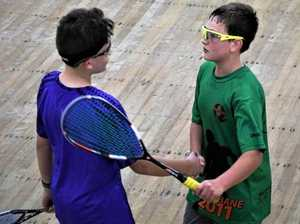 Ben Murray U13 State Champion from Sandgate Squash, shakes the hand of his competitor following a tough match at the Queensland Junior Championships.