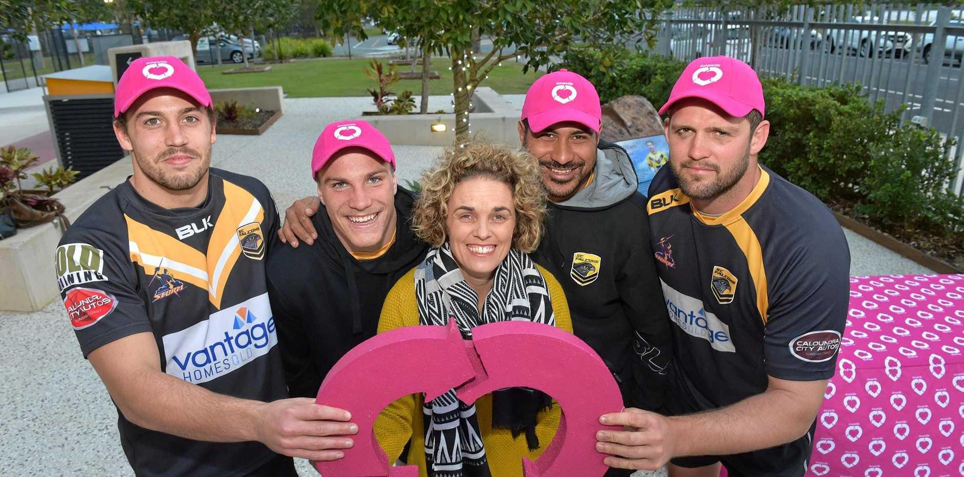 DONATE LIFE: Tom Geraghty, Alex Coplin, Jake Samoa and Ryan Hansen with Sonya Ackerman, mother of the late Sunshine Coast footballer James Ackerman, support Donate Life Week.