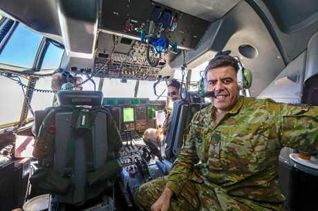 Milton Dick in the cockpit of a Royal Australian Air Force C-130 Hercules.