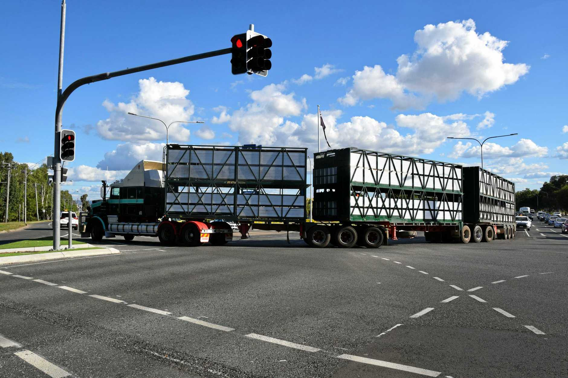 Rockhampton Regional Council have launched a bid to become a major player in Australia's freight and supply chain. PICTURED: Frasers Livestock Transport become the first to drive a three-trailer cattle train through Rockhampton on the new stock route.