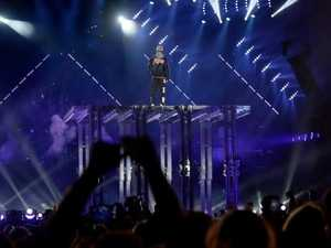Justin Bieber on stage during his concert at ANZ Stadium in Homebush.