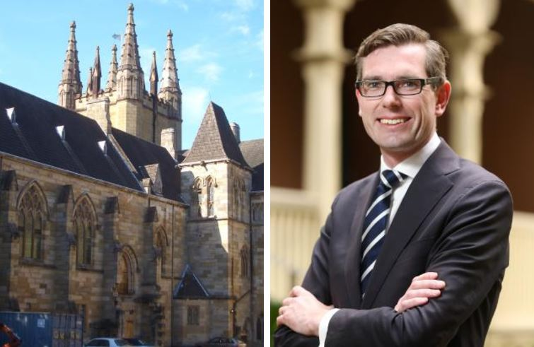 St John's College at the University of Sydney, left, and right, NSW Treasurer Dominic Perrottet