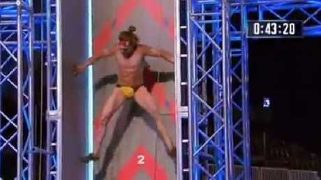 Jack Wilson scales the chimney to finish stage one with speedos intact.Source:Channel 9