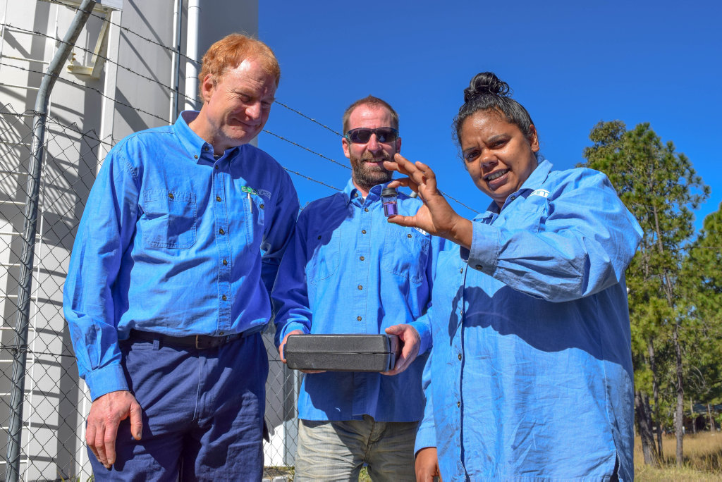 Ecoteam's Keith Bolton, Aaron Taylor and Alinta Hippi have worked hard to ensure the community of Jubullum maintain a healthy water supply.