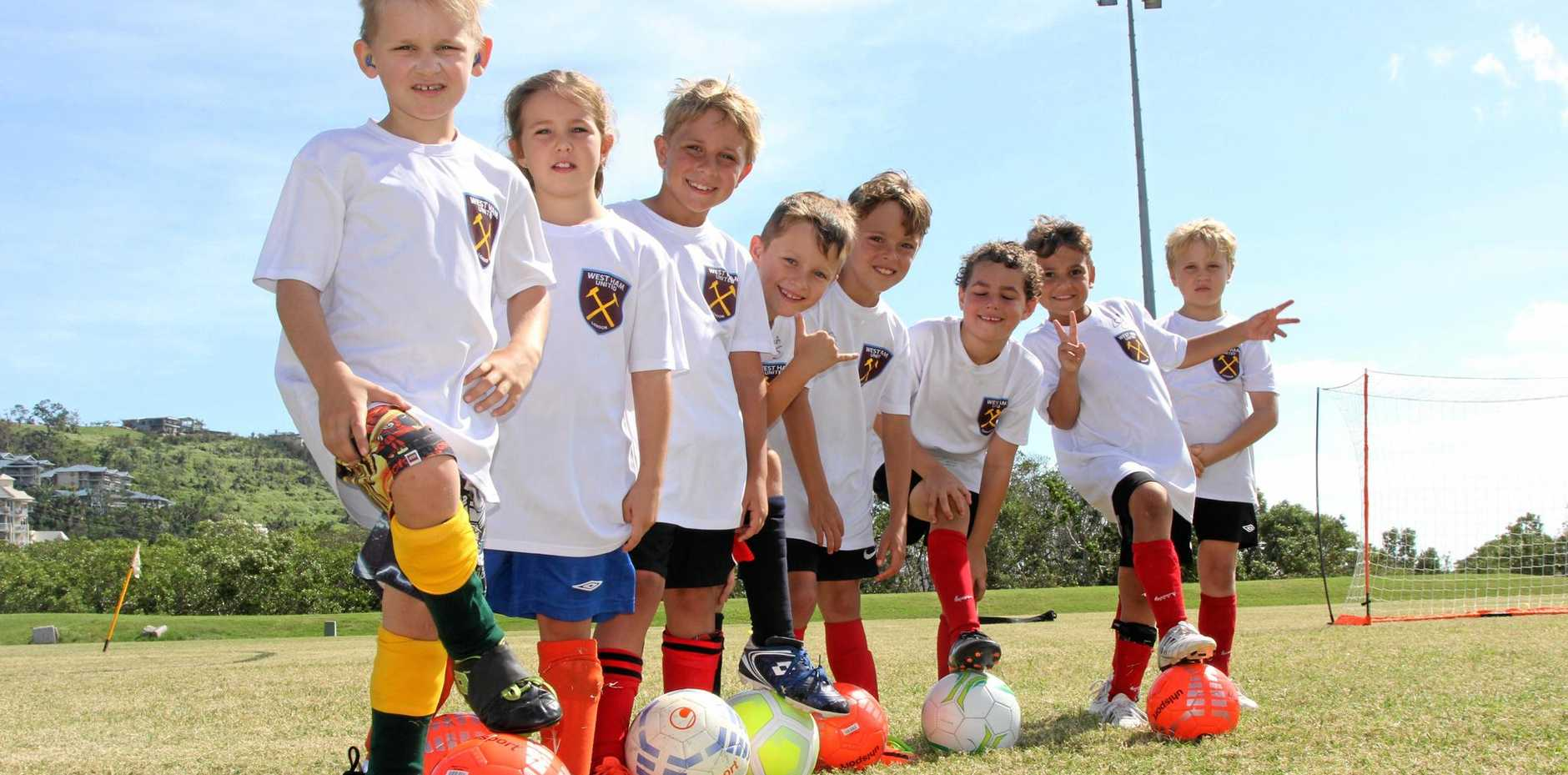 IN TRAINING: Kids at the West Ham soccer camp held at the Whitsunday Sportspark recently.