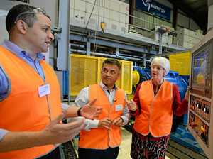 SIEMENS INNOVATING: Kareem Emara, Nevzat Oezcan (from Siemens) and Margaret Strelow at the Siemens Rockhampton Service Centre in Kawana.