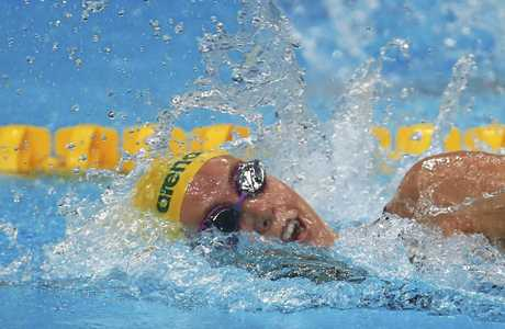 Australia's Emma McKeon competes in a women's 200m freestyle heat