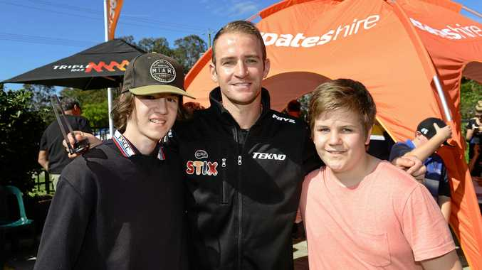 V8 Supercars driver Will Davison meets with fans at last year's Community event at Coates Hire in Churchill. The drivers are back for another fan session on Thursday afternoon.
