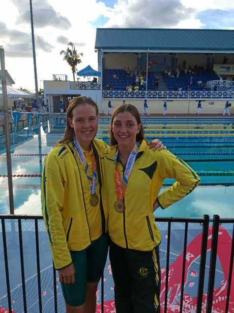 Teammates Ella Noble and Meg Harris at the 2017 Youth Commonwealth Games.