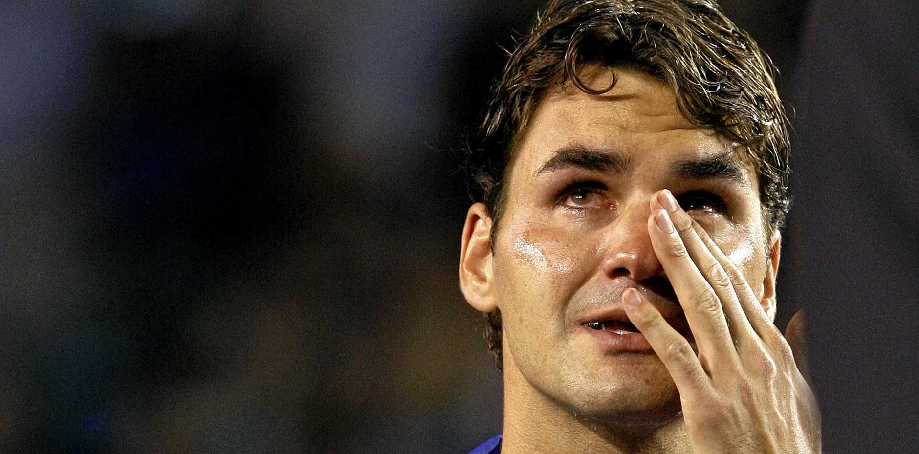 Roger Federer sheds tears after losing to Rafael Nadal in the final of the 2009 Australian Open tournament.