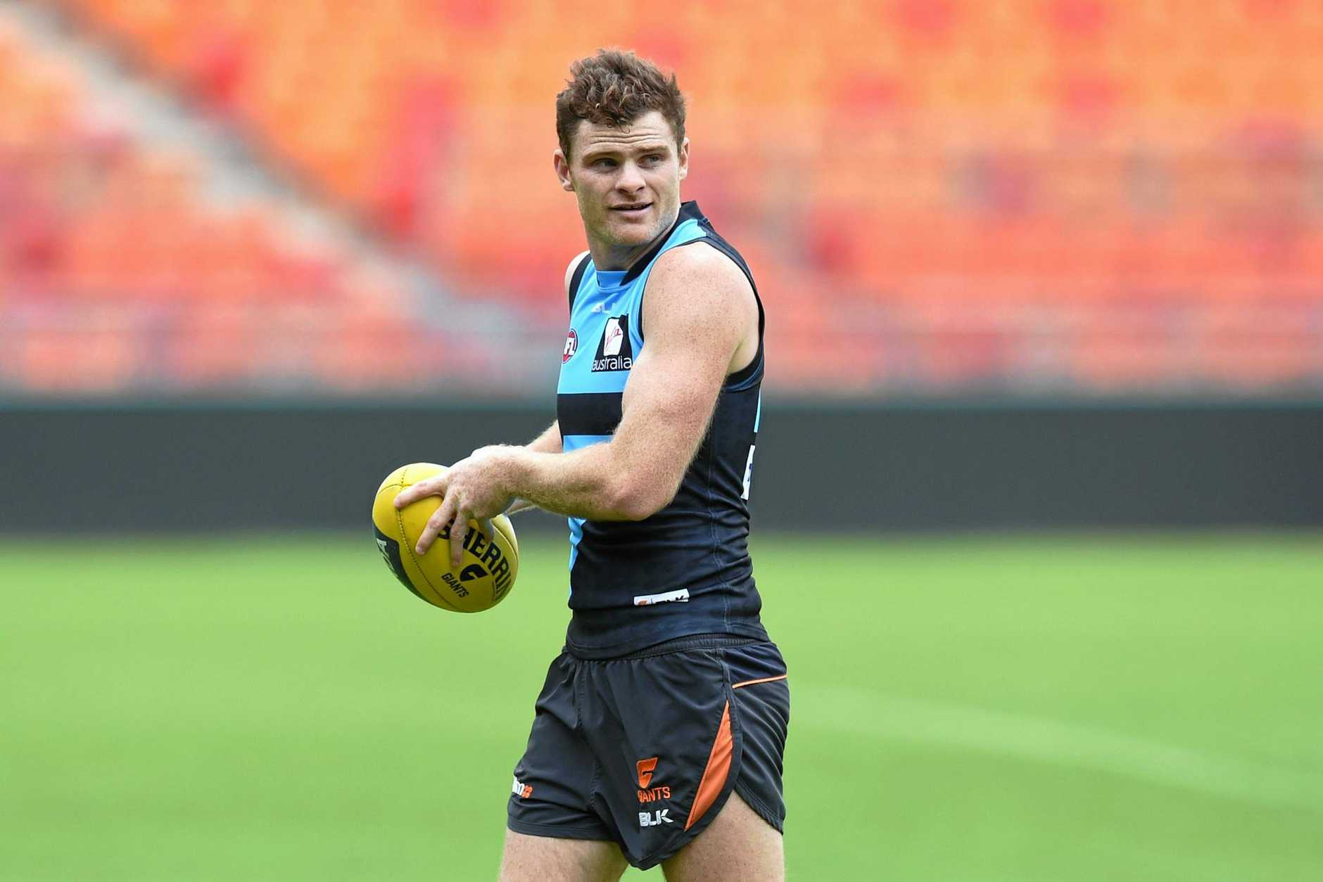 Giants defender Heath Shaw at training in Sydney.