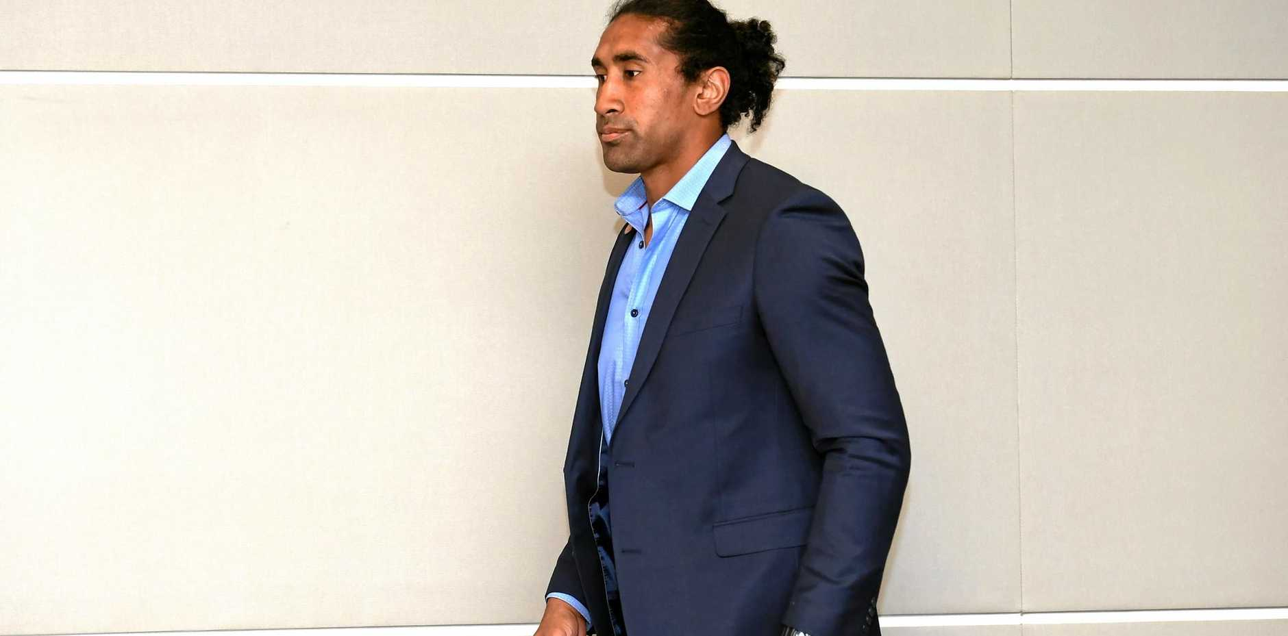 Raiders forward Sia Soliola aattends an NRL judiciary hearing after his late tackle on Storm fullback Billy Slater.