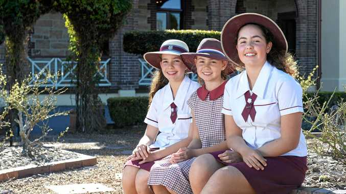 ON SET: Estelle, Imogen and Adelaide Synnott from are starring in a movie filmed at Boonah.