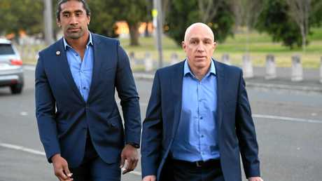 Canberra player Sia Soliola (left) and football manager John Bonasera arrive for a NRL judiciary hearing.