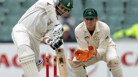 Australian 'keeper Adam Gilchrist, right, in action against South Africa in 2006.